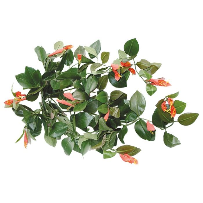 Terrarium Kunstpflanze Columnearanke mit roten Blüten ca. 75 cm