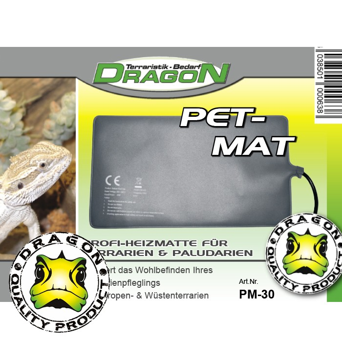Pet-Mat Dragon Terrarium Heizmatte Boden Heizung wasserdicht nach IP 67, in 5 versch. Größen