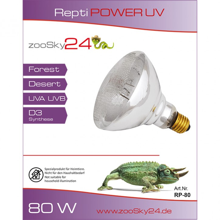 Repti Power UV Terrarienlampe, Quecksilberdampflampe 80 Watt, 100 Watt, 160 Watt