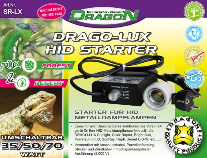Dragon HID Starter für 30 - 50 - 70 Watt Vorschaltgerät für UV Metalldampflampe Terrarienlampe