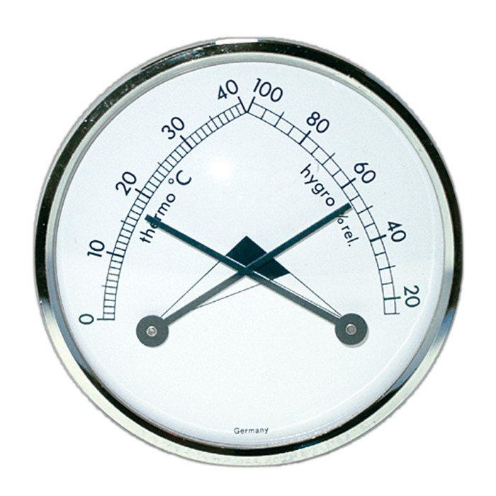 Thermo- und Hygrometer analog weiß, rund Ø 70mm mit Silberrin
